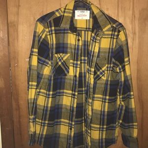 Yellow and blue plaid flannel